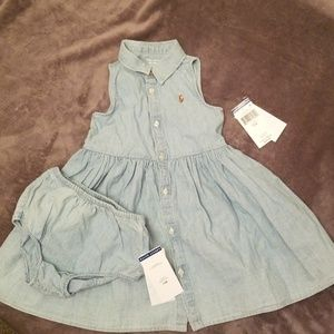Toddler girls denim dress w/ bloomers